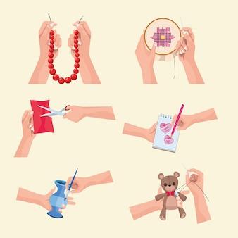 Seis ícones de projetos de artesanato