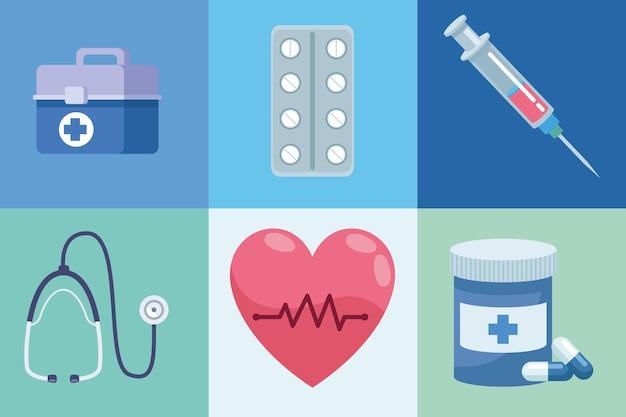 Seis ícones de saúde médica