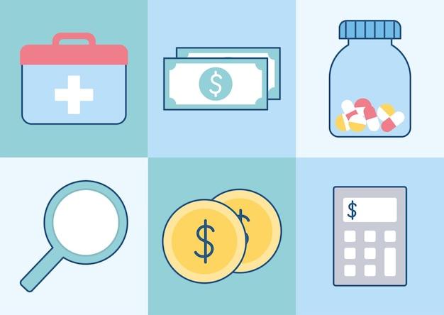 Seis ícones de seguro saúde