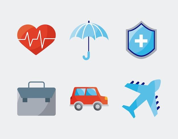 Seis ícones de serviços de seguros