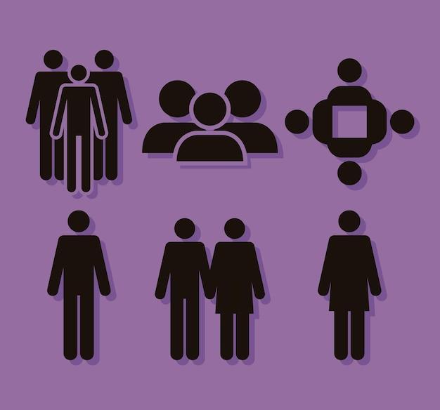 Seis ícones de silhuetas populacionais