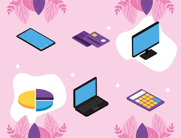 Seis ícones de soluções de pagamento