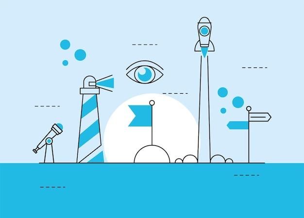 Seis ícones de visão de negócios