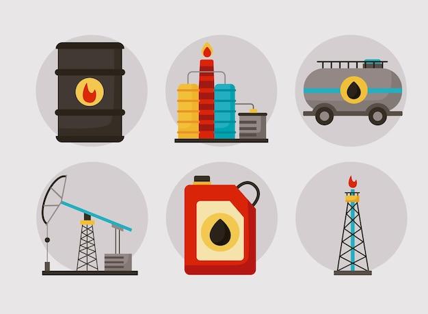 Seis ícones do conjunto da indústria do petróleo