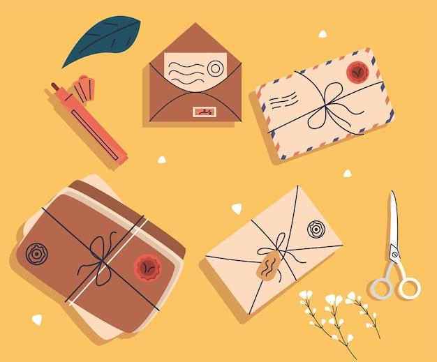 Seis ícones do serviço postal