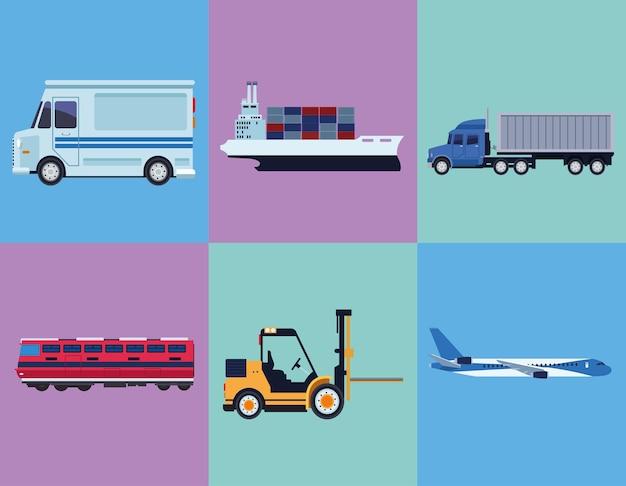 Seis ícones logísticos