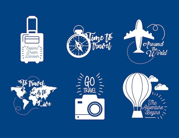 Seis inscrições de viagens