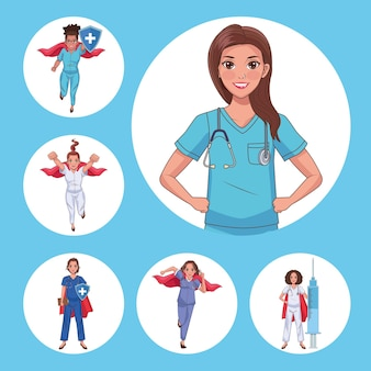 Seis médicos heróis