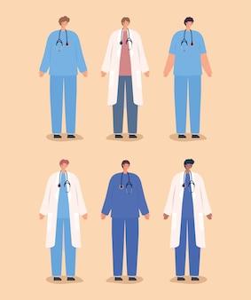 Seis médicos homens