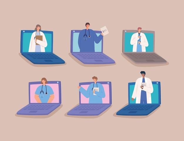 Seis médicos virtuais