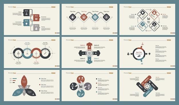 Seis modelos de modelos de slide de gráficos de marketing