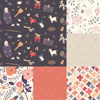 Seis padrões de tema sem costura em cores moderadas
