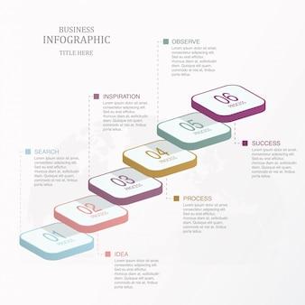 Seis passos do gráfico infográfico de escada, opção ou etapas.