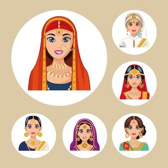 Seis personagens de noivas árabes