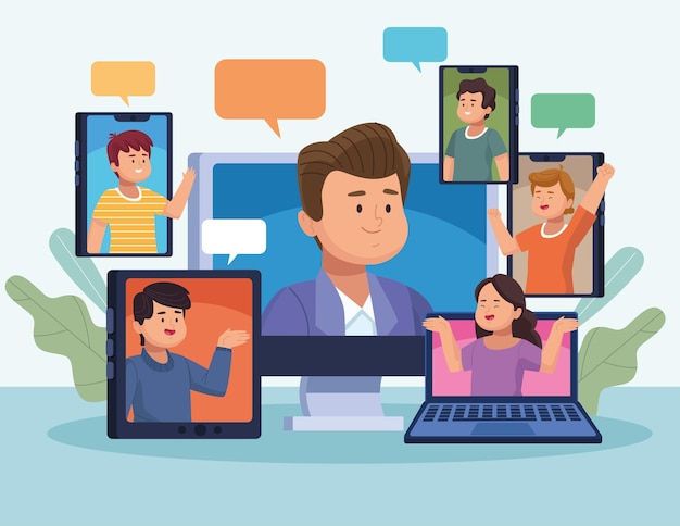 Seis pessoas em reunião virtual