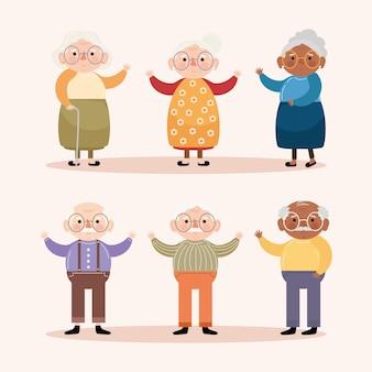 Seis pessoas idosas