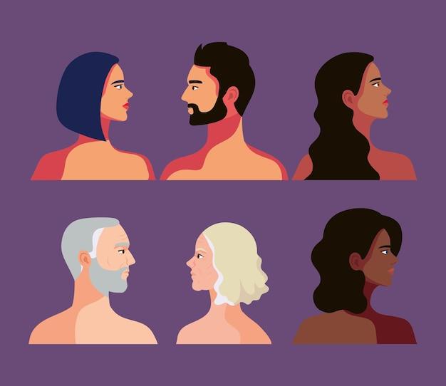 Seis pessoas inter-raciais