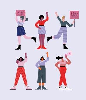 Seis pessoas protestando por assédio sexual