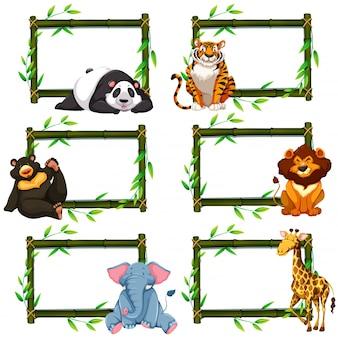 Seis quadros de bambu com animais selvagens