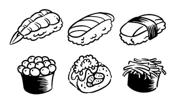 Seis sabores de sushi desenhados em fundo branco