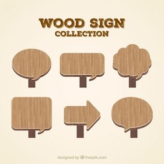 Seis sinais de madeira