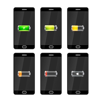 Seis smartphones pretos com ícones de baterias brilhantes
