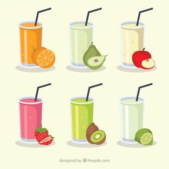 Seis sucos de frutas suculentos