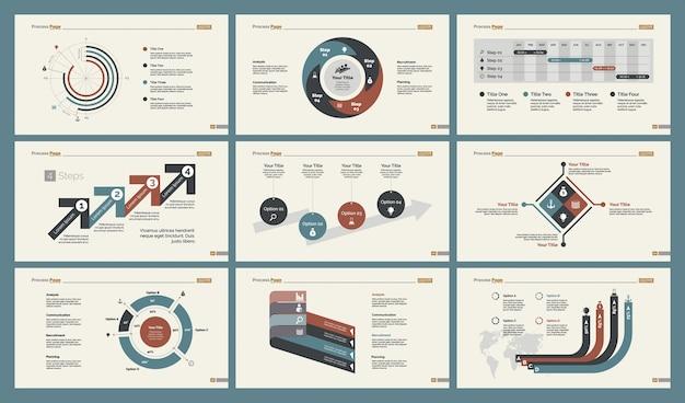 Seis tabelas de estatísticas conjunto de modelos de slides