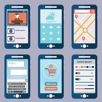 Seis telas de aplicativos móveis