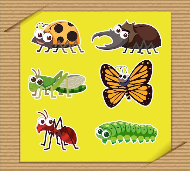 Seis tipos de insetos em papel amarelo