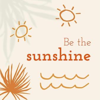 Seja a postagem de mídia social editável do tema do verão do vetor do modelo do sol