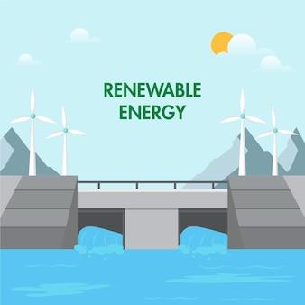 Seja ecológico com o conceito de energia verde renovável