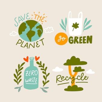 Seja ecológico e salve emblemas de ecologia