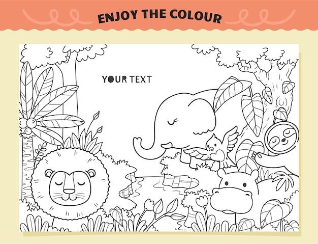 Seja feliz animais colorindo para crianças