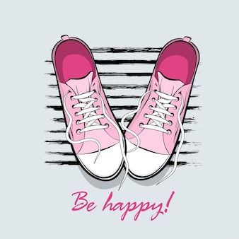 Seja feliz pop art desenhando tênis sapatos kitsch colorido texto em quadrinhos par de sapatos esportivos