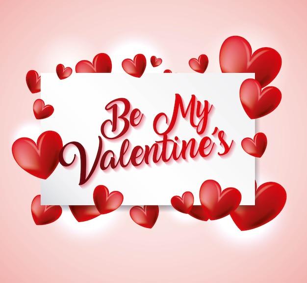 Seja meu cartão de san valentin com corações de amor