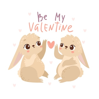 Seja meu cartão dos coelhinhos dos namorados