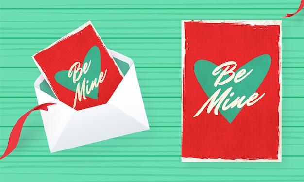 Seja meu design de cartão em estilo retro para o dia dos namorados
