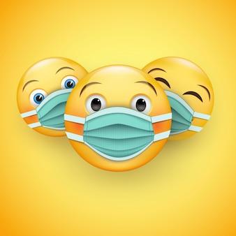 Seja responsável e protegido - vários emoticons amarelos em 3d em máscaras médicas.