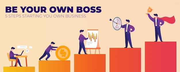 Seja seu próprio patrão cinco etapas iniciando seu próprio negócio