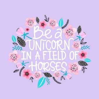 Seja um unicórnio em um campo de cavalos cartão comemorativo