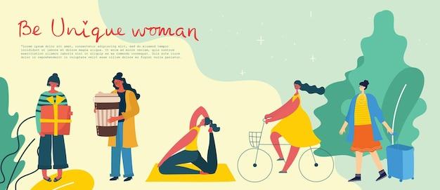 Seja uma mulher única. conceito de poder das meninas, ideias femininas e feministas.