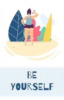 Seja você mesmo modelo de cartão plano de design de motivação