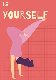 Seja você mesmo modelo de cartão plano motivacional de mulher