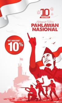 Selamat hari pahlawan nasional. tradução: feliz dia dos heróis nacionais da indonésia. ilustração para cartão de felicitações