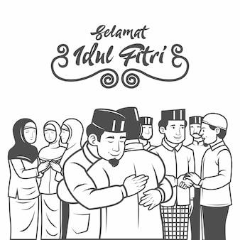 Selamat hari raya idil fitri é outra língua do feliz eid mubarak na indonésia. pessoas muçulmanas comemorando o eid al fitr abraçam-se e pedem desculpas pela ilustração.