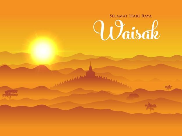 Selamat hari raya waisak. tradução: feliz dia vesak. ilustração.