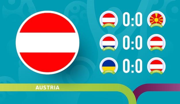 Seleção austríaca programar partidas na fase final do campeonato de futebol de 2020