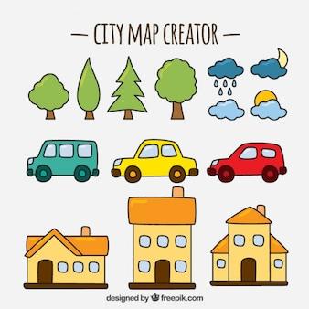 Seleção bonito de artigos para criar um mapa da cidade