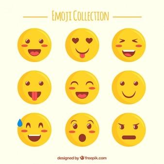 Seleção bonito de emojis plana